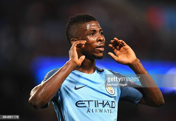 Kelechi Iheanacho of Manchester City reacts during the UEFA Champions League Playoff Second Leg match between Manchester City and Steaua Bucharest at...