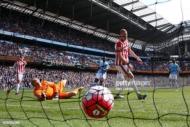 Kelechi Iheanacho of Manchester City scores his first and his sides third goal during the Barclays Premier League match between Manchester City and...