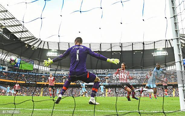 Kelechi Iheanacho of Manchester City scores his sides first goal during the Premier League match between Manchester City and Southampton at Etihad...