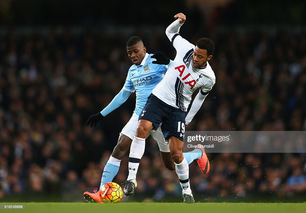 <a gi-track='captionPersonalityLinkClicked' href=/galleries/search?phrase=Kelechi+Iheanacho&family=editorial&specificpeople=11503326 ng-click='$event.stopPropagation()'>Kelechi Iheanacho</a> of Manchester City tackles Mousa Dembele of Tottenham Hotspur during the Barclays Premier League match between Manchester City and Tottenham Hotspur at Etihad Stadium on February 14, 2016 in Manchester, England.