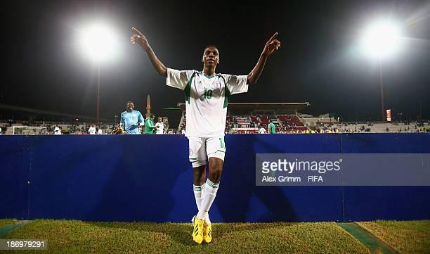 Kelechi Iheanacho of Nigeria celebrates after the FIFA U17 World Cup UAE 2013 Semi Final match between Sweden and Nigeria at Al Rashid Stadium on...