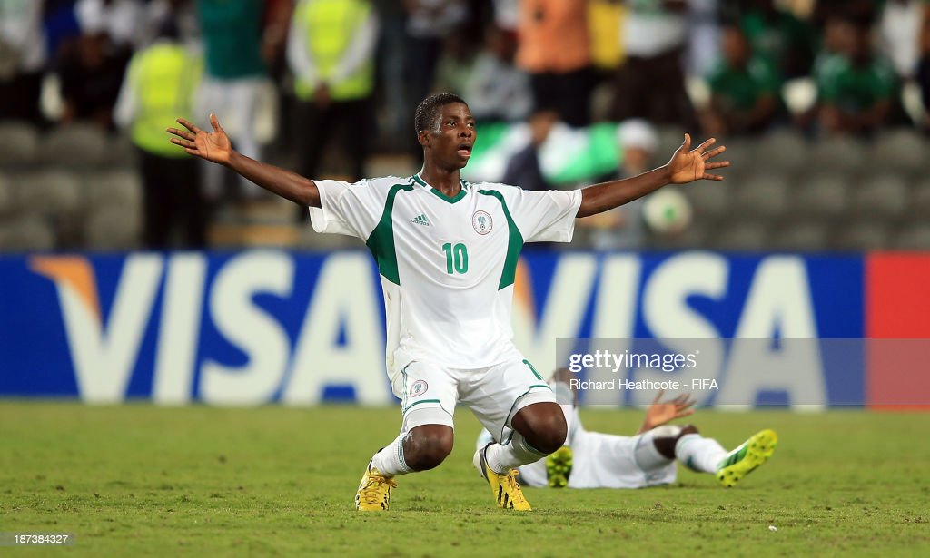 Kelechi Iheanacho of Nigeria celebrates victory during the FIFA U-17 World Cup UAE 2013 Final between Nigeria and Mexico at the Mohamed Bin Zayed Stadium on November 8, 2013 in Abu Dhabi, United Arab Emirates.