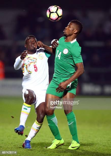 Kelechi Iheanacho of Nigeria holds of Idrissa Gana Gueye of Senegal during International Friendly match between Nigeria against Senegal at The Hive...
