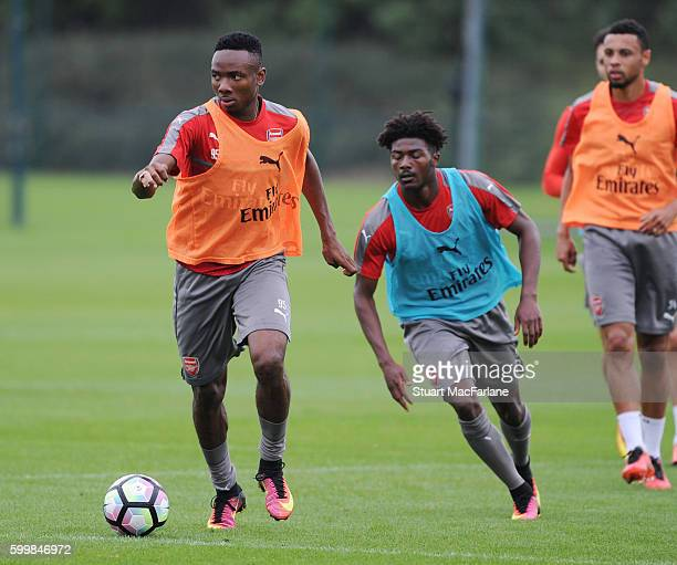 Kelechi Nwakali and Ainsley MaitlandNiles of Arsenal during a training session at London Colney on September 7 2016 in St Albans England