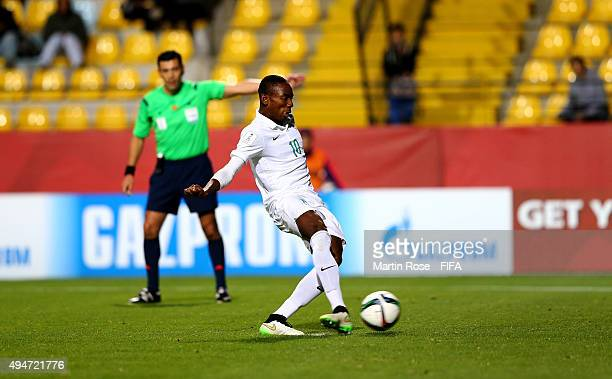 Kelechi Nwakali of Nigeria scores the 2nd goal by penalty kick during the FIFA U17 Men's World Cup 2015 round of 16 match between Nigeria and...