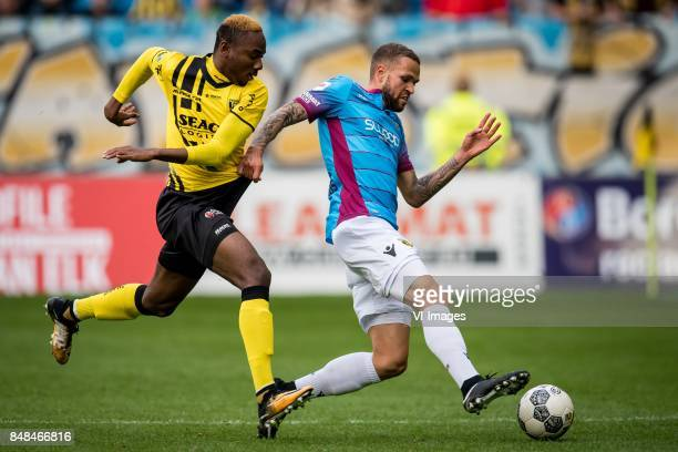 Kelechi Nwakali of VVV Luc Castaignos of Vitesse during the Dutch Eredivisie match between Vitesse Arnhem and VVV Venlo at Gelredome on September 17...