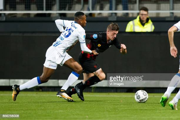 Kelechi Nwakali of VVV Venlo Jinty Caenepeel of Excelsior during the Dutch Eredivisie match between sbv Excelsior Rotterdam and VVV Venlo at Van...