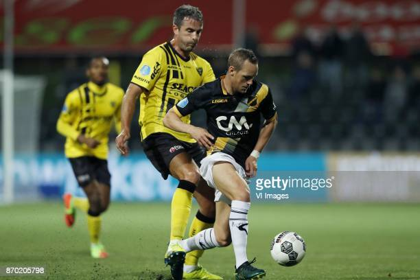 Kelechi Nwakali of VVV Venlo Ralf Seuntjens of VVV Venlo Thomas Enevoldsen of NAC Breda during the Dutch Eredivisie match between VVV Venlo and NAC...