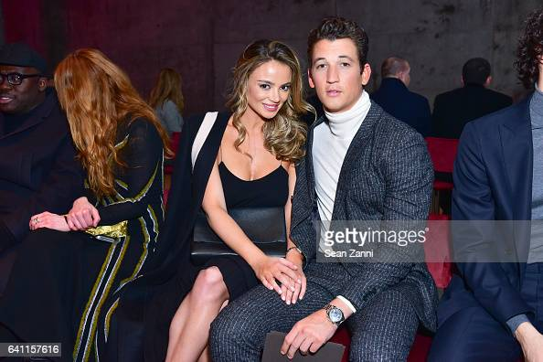 Keleigh Sperry and Miles Teller attend Boss Front Row NYFW Men's at Skylight Modern on January 31 2017 in New York City