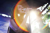 Kelela performs onstage during the 2014 Pitchfork Music Festival at Union Park on July 19 2014 in Chicago Illinois