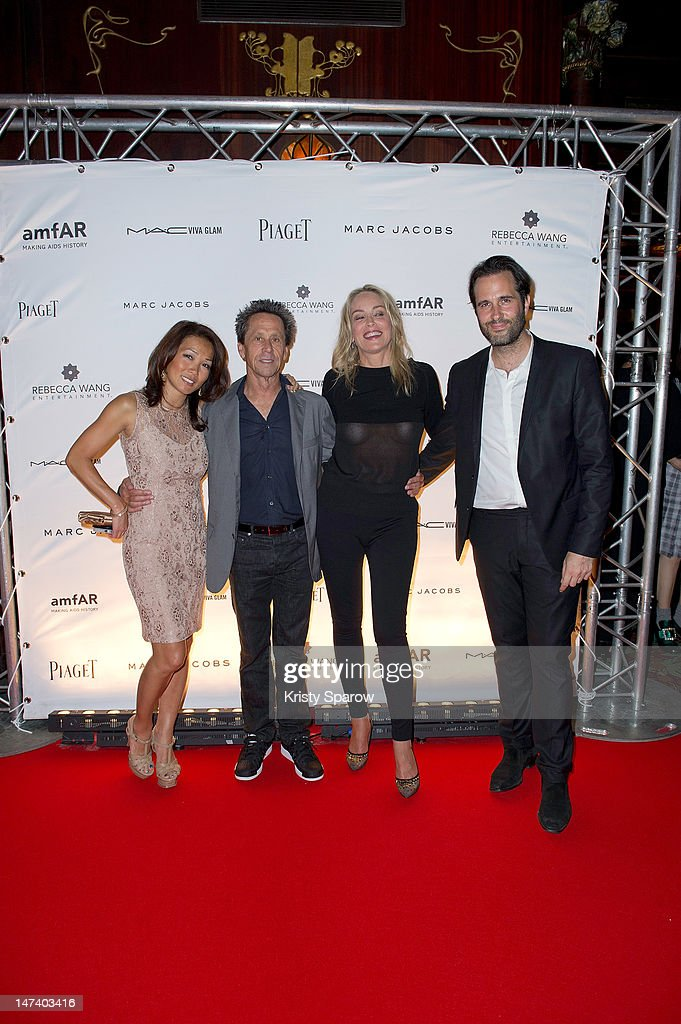 Keli Lee, <a gi-track='captionPersonalityLinkClicked' href=/galleries/search?phrase=Brian+Grazer&family=editorial&specificpeople=203009 ng-click='$event.stopPropagation()'>Brian Grazer</a>, <a gi-track='captionPersonalityLinkClicked' href=/galleries/search?phrase=Sharon+Stone&family=editorial&specificpeople=156409 ng-click='$event.stopPropagation()'>Sharon Stone</a> and guest attend the amfAR Inspiration Night Paris at Maxim's on June 28, 2012 in Paris, France.