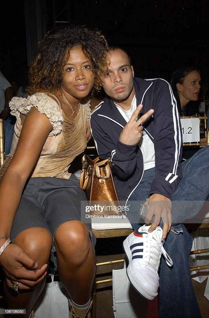 Kelis and Richie Akiva during MercedesBenz Fashion Week Spring Collections 2003 Luella Bartley Show Front Row at Bryant Park in New York City New...