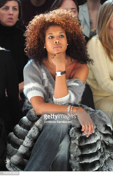 Kelis during Olympus Fashion Week Fall 2004 Calvin Klein Front Row at The Atelier at Bryant Park in New York City New York United States
