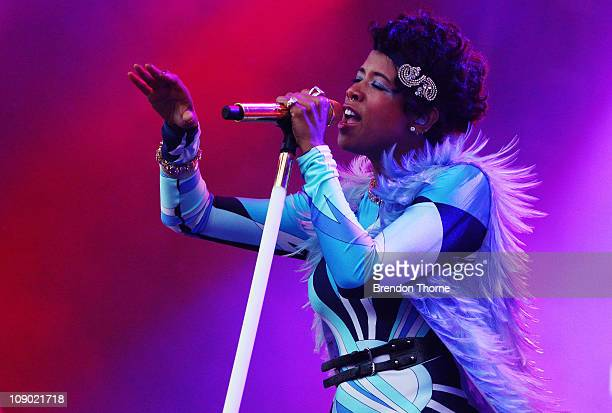 Kelis performs on stage during the Good Vibrations music festival at Centennial Park on February 12 2011 in Sydney Australia