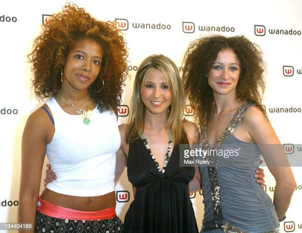 Kelis Rachel Stevens and Leah Wood during Freeserve Changes its Name to Wanadoo Launch Party at The Scala Kings Cross in London Great Britain