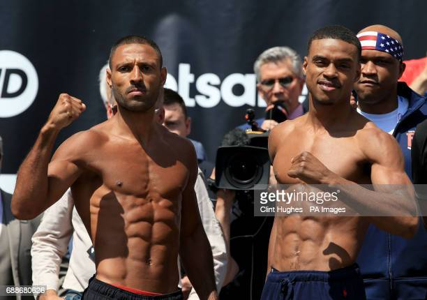 Kell Brook and Errol Spence Jnr during the weighin at Sheffield City Hall