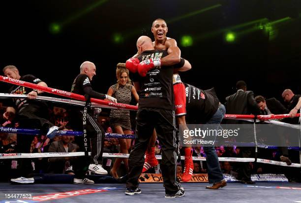 Kell Brook celebrates his victory over Hector Saldivia during their IBF Welterweight Title Eliminator fight on October 20 2012 in Sheffield England