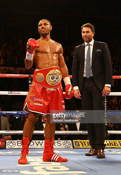 Kell Brook celebrates with promoter Eddie Hearn after beating Jo Jo Dan during their IBF World Welterweight Title Fight at the Motorpoint Arena on...