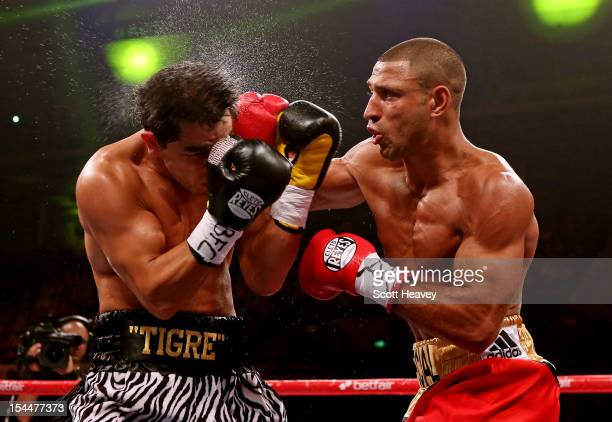 Kell Brook connectes with with Hector Saldivia during their IBF Welterweight Title Eliminator fight on October 20 2012 in Sheffield England
