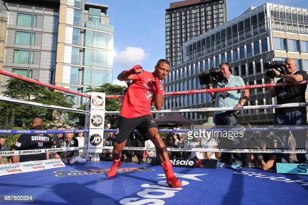 Kell Brook during a public workout at the Peace Gardens on May 24 2017 in Sheffield England Brook fights American Errol Spence at Bramhall Lane on...