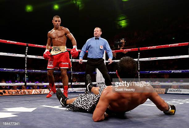 Kell Brook finishes Hector Saldivia with a knock out during their IBF Welterweight Title Eliminator fight on October 20 2012 in Sheffield England