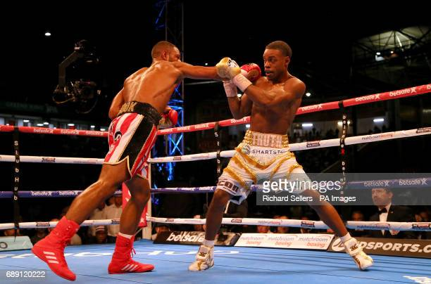 Kell Brook in action against Errol Spence during their IBF Welterweight World Championship at Bramall Lane Sheffield