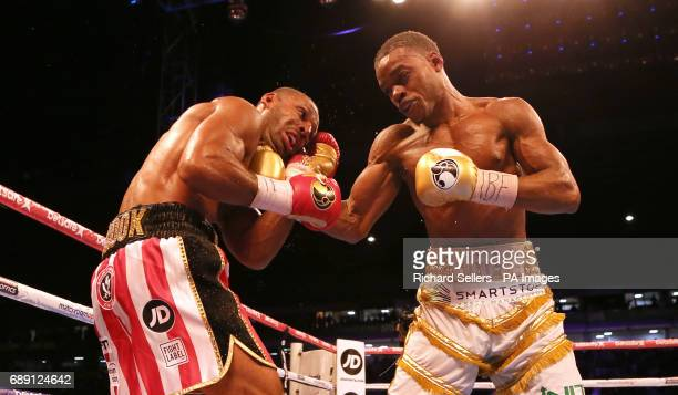 Kell Brook in action against Errol Spence during their IBF Welterweight World Championship bout at Bramall Lane Sheffield