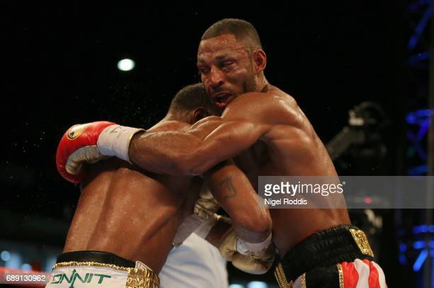 Kell Brook in action against Errol Spence JR during their IBF Welterweight World Championship contest at Bramall Lane on May 27 2017 in Sheffield...