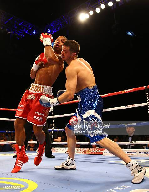 Kell Brook in action against Jo Jo Dan during their IBF World Welterweight Title Fight at the Motorpoint Arena on March 28 2015 in Sheffield England