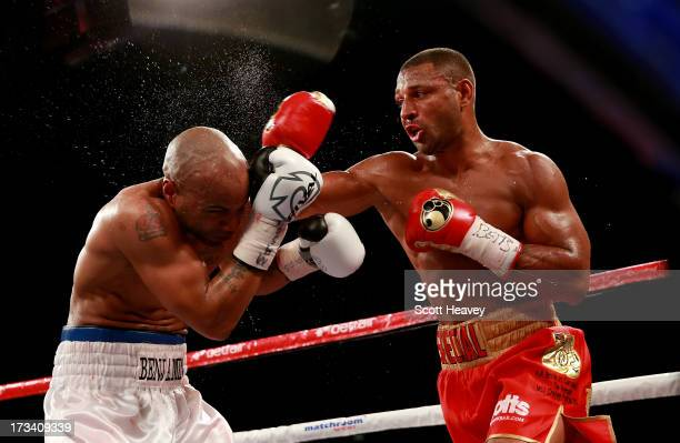 Kell Brook in action with Carson Jones during their International Welterweight bout at Craven Park Stadium on July 13 2013 in Hull England