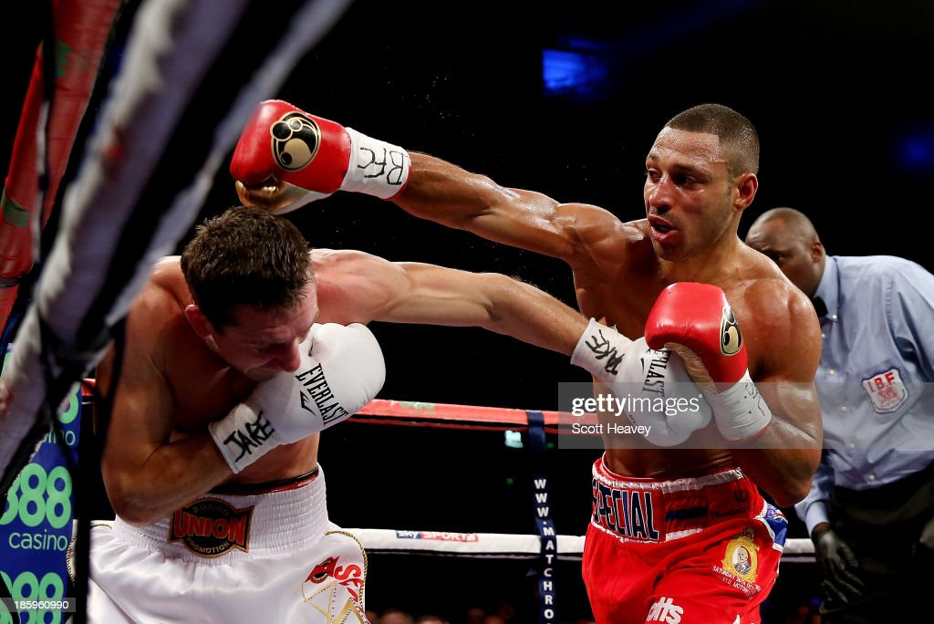 <a gi-track='captionPersonalityLinkClicked' href=/galleries/search?phrase=Kell+Brook&family=editorial&specificpeople=4068924 ng-click='$event.stopPropagation()'>Kell Brook</a> (R) in action with Vyacheslav Senchenko during their Final Eliminator for the IBF World Welterweight Championship bout at Motorpoint Arena on October 26, 2013 in Sheffield, England.