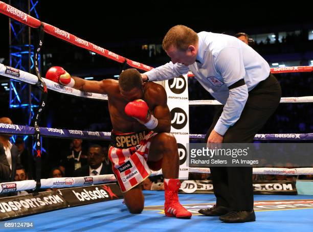 Kell Brook is knocked down during his IBF Welterweight World Championship bout Errol Spence at Bramall Lane Sheffield