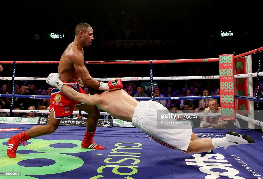 <a gi-track='captionPersonalityLinkClicked' href=/galleries/search?phrase=Kell+Brook&family=editorial&specificpeople=4068924 ng-click='$event.stopPropagation()'>Kell Brook</a> (L) knocks out Vyacheslav Senchenko during their Final Eliminator for the IBF World Welterweight Championship bout at Motorpoint Arena on October 26, 2013 in Sheffield, England.