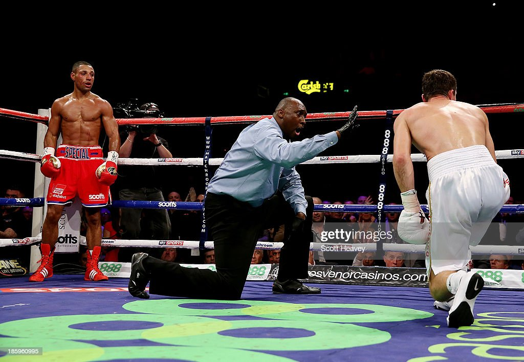 <a gi-track='captionPersonalityLinkClicked' href=/galleries/search?phrase=Kell+Brook&family=editorial&specificpeople=4068924 ng-click='$event.stopPropagation()'>Kell Brook</a> looks on as the referee gives Vyacheslav Senchenko a count during their Final Eliminator for the IBF World Welterweight Championship bout at Motorpoint Arena on October 26, 2013 in Sheffield, England.