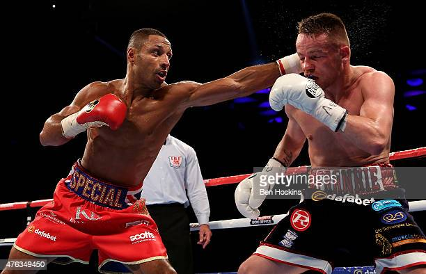 Kell Brook of Engalnd and Frankie Gavin of England exchange blows during their IBF World Welterweight Championship bout at The O2 Arena on May 30...