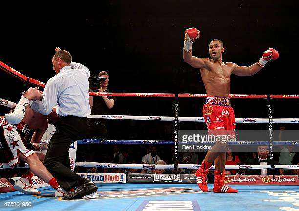 Kell Brook of England celebrates after defeating Frankie Gavin of England during their IBF World Welterweight Championship bout at The O2 Arena on...