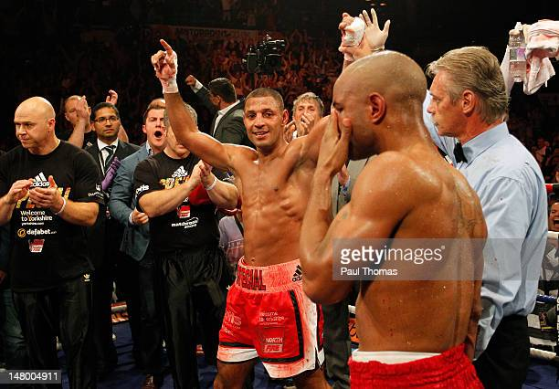 Kell Brook of England celebrates victory over Carson Jones of the USA after their IBF Welterweight Title Eliminator Fight at the Sheffield Motorpoint...