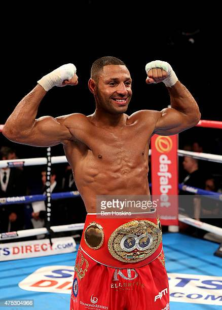 Kell Brook of England poses with the IBF World Welterweight Championship title belt after defeating Frankie Gavin of England at The O2 Arena on May...