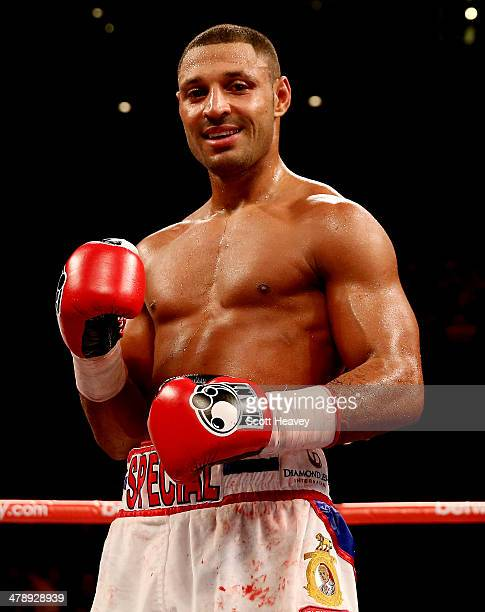Kell Brook of Great Britain celebrates his victory over Alvaro Robles of Mexico during their Welterweight bout at Liverpool Echo Arena on March 15...