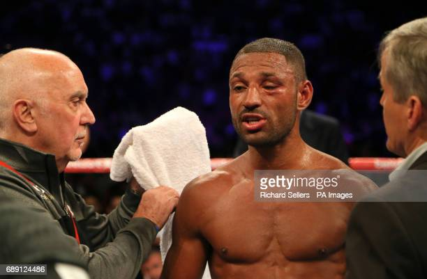Kell Brook reacts after his IBF Welterweight World Championship bout Errol Spence at Bramall Lane Sheffield