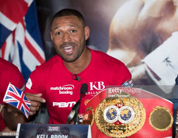 Kell Brook speaks during his press confrence with Errol Spence as they announce their fight on 27th May 2017 at Bramall lane on March 22 2017 in...