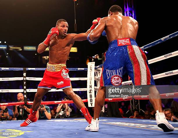 Kell Brook throws a punch at Shawn Porter in their IBF Welterweight World Championship fight at StubHub Center on August 16 2014 in Los Angeles...