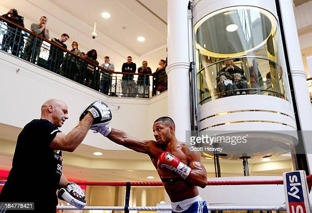 Kell Brook works out at Meadowhall shopping centre ahead of his Welterweight bout with Vyacheslav Senchenko on October 16 2013 in Sheffield England