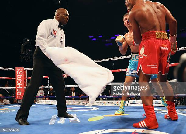 Kell Brook's corner throw in the towel in the fifth round to end the fight during the World Middleweight Title contest between Gennady Golovkin and...