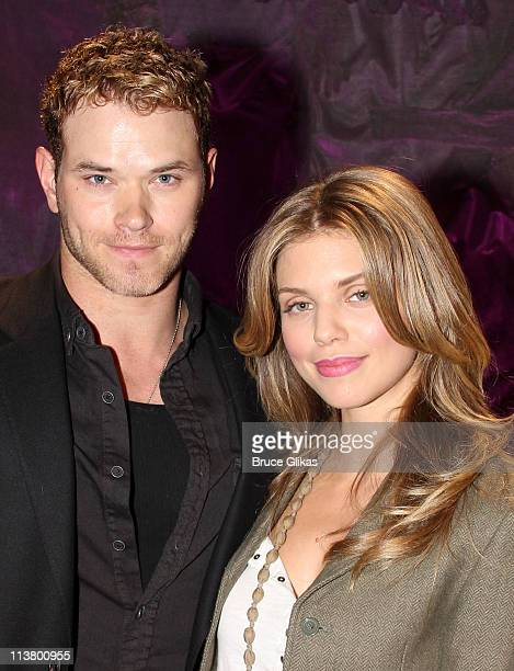 Kellan Lutz and AnnaLynne McCord pose backstage at the hit play 'Love Loss and What I Wore' OffBroadway at The Westside Theater on May 5 2011 in New...