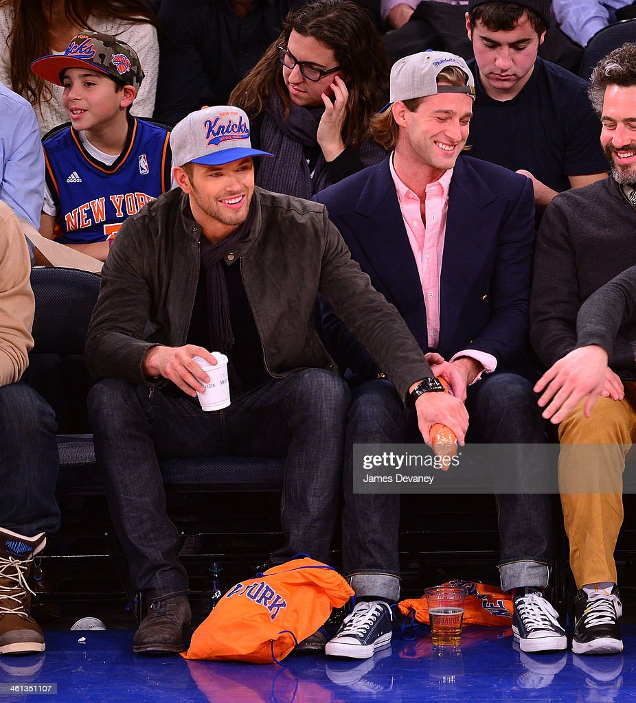 Kellan Lutz and guest attend the Detroit Pistons vs New York Knicks game at Madison Square Garden on January 7, 2014 in New York City.