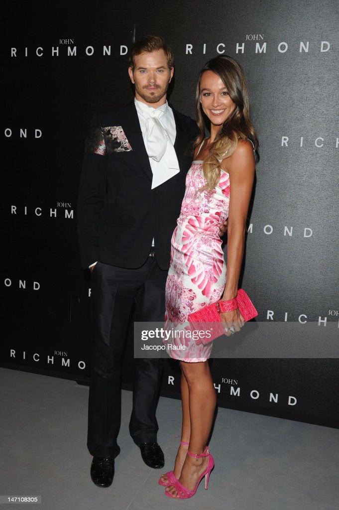 Kellan Lutz and Sharni Vinson arrive at the John Richmond show as part of Milan Fashion Week Menswear Spring/Summer 2013 on June 25, 2012 in Milan, Italy.