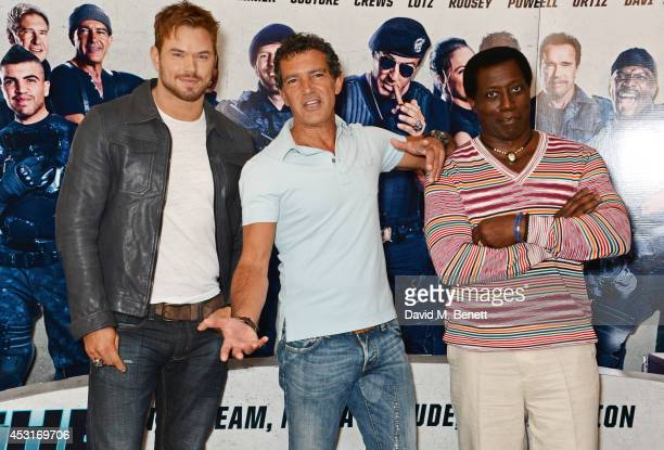 Kellan Lutz Antonio Banderas and Wesley Snipes attend a photocall for 'The Expendables 3' at the Corinthia Hotel London on August 4 2014 in London...