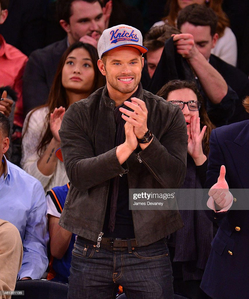 Kellan Lutz attends the Detroit Pistons vs New York Knicks game at Madison Square Garden on January 7, 2014 in New York City.
