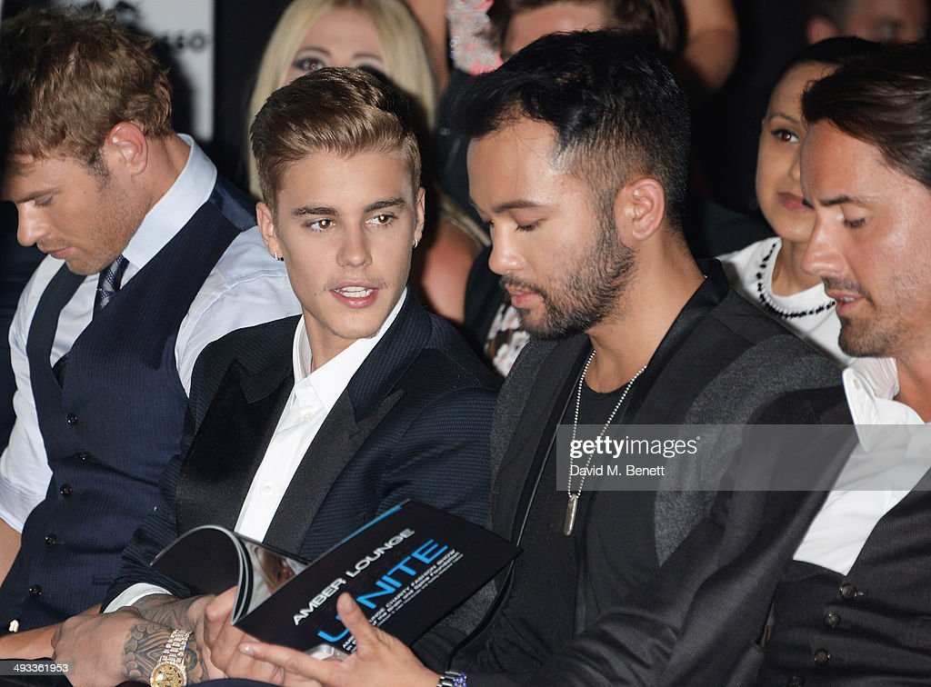 Kellan Lutz, Justin Bieber, guest and Jay Rutland attend the Amber Lounge 2014 Gala at Le Meridien Beach Plaza Hotel on May 23, 2014 in Monaco, Monaco.